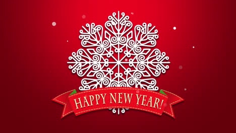 Happy-New-Year-text-with-white-snowflakes-on-red-background