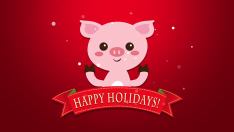 Happy-Holidays-text-and-funny-pig