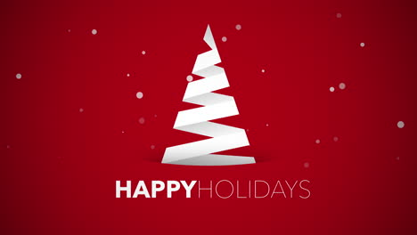 Happy-Holidays-text-with-white-Christmas-tree-on-red-background-3
