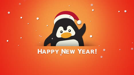 Happy-New-Year-text-with-funny-penguin-waving-on-orange-background