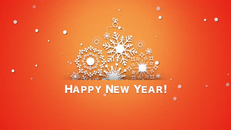 Happy-New-Year-text-with-white-snowflakes-on-orange-background-1