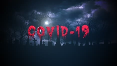 Animated-text-Covid-19-and-background-with-dark-clouds-and-grave-on-cemetery