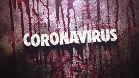 Animated-text-Coronavirus-and-horror-background-with-dark-blood-on-wall