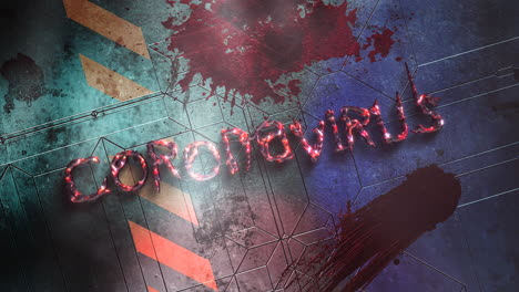 Animated-text-Coronavirus-and-horror-background-with-dark-blood-on-wall-1