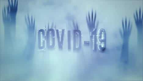 Animated-text-Covid-19-and-horror-background-with-hands-behind-the-glass