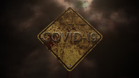Animated-text-Covid-19-and-horror-background-with-road-sign-and-dark-blood