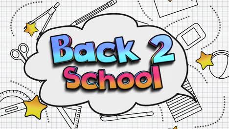 Nahaufnahmetext-Zurück-Zur-Schule-Und-Nahaufnahmebewegung-Von-Schulelementen