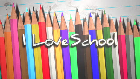 Closeup-text-I-love-School-and-closeup-colorful-pencil-on-paper