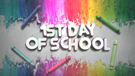 Closeup-text-1st-Day-of-School-and-closeup-colorful-chalk-on-blackboard