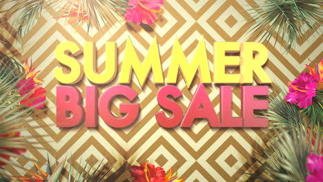 Animated-closeup-text-Summer-Big-Sale-and-tropical-flowers-and-leaf