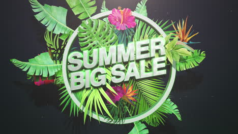 Animated-closeup-text-Summer-Big-Sale-and-tropical-flowers-and-leaf-1