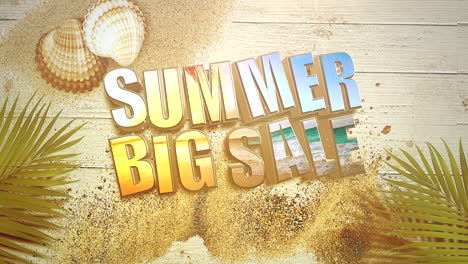Animated-closeup-text-Summer-Big-Sale-and-sandy-beach