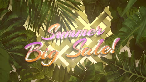 Animated-closeup-text-Summer-Big-Sale-and-tropical-flowers-and-leaf-2