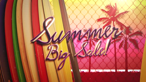 Animated-closeup-text-Summer-Big-Sale-and-surfing-boards