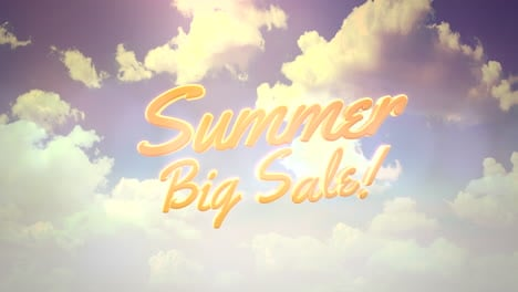 Animated-closeup-text-Summer-Big-Sale-and-blue-cloudy-sky