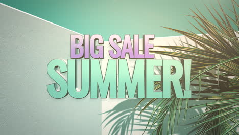 Animated-closeup-text-Summer-Big-Sale-and-tropical-palm-trees