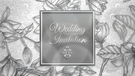 Closeup-text-Wedding-Invitation-and-vintage-frame-with-flowers-motion