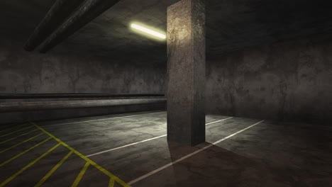 Panorama-of-motion-camera-in-empty-underground-garage