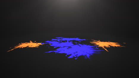 Animation-colorful-watercolor-splashes-down-on-black-floor