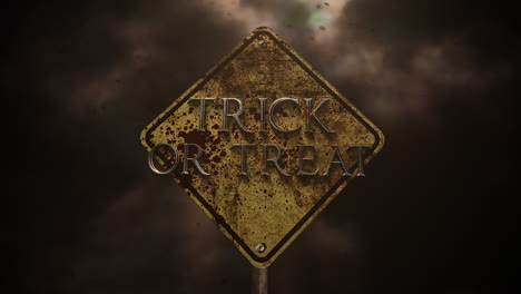 Trick-or-Treat-on-mystical-horror-background-with-road-sign