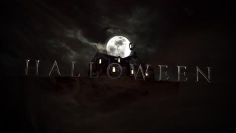 Halloween-Y-Fondo-De-Terror-Místico-Con-La-Casa-Y-La-Luna