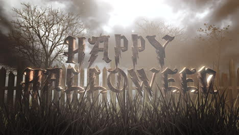 Happy-Halloween-and-mystical-halloween-background-with-dark-forest-and-fog
