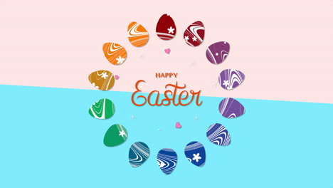 Animated-closeup-Happy-Easter-text-and-eggs-on-blue-and-rose