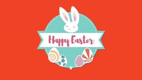 Animated-closeup-Happy-Easter-text-and-rabbits-on-red-background