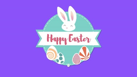 Animated-closeup-Happy-Easter-text-and-rabbit-on-blue-background