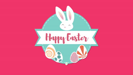 Animated-closeup-Happy-Easter-text-and-rabbit-on-red-background