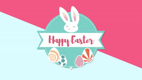 Animated-closeup-Happy-Easter-text-and-rabbit-on-blue-and-red