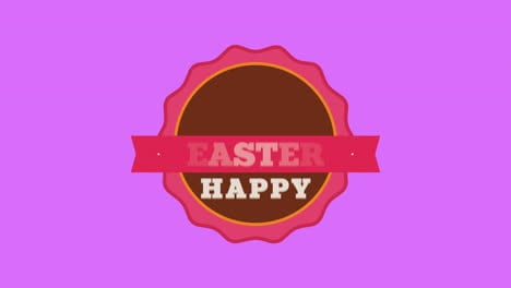 Animated-closeup-Happy-Easter-text-and-rabbit-on-purple-background