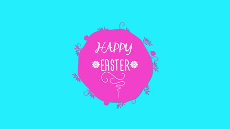 Animated-closeup-Happy-Easter-text-on-blue-background