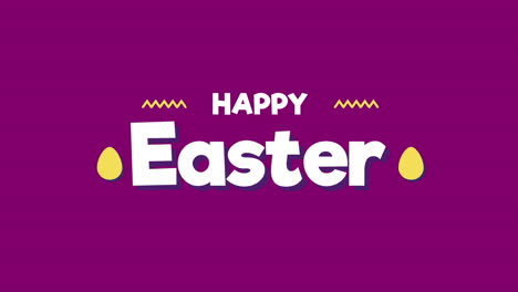 Animated-closeup-Happy-Easter-text-on-purple-background