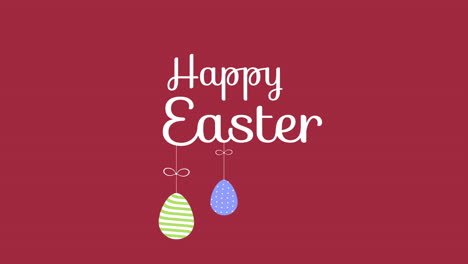 Animated-closeup-Happy-Easter-text-and-eggs-on-red-background-1