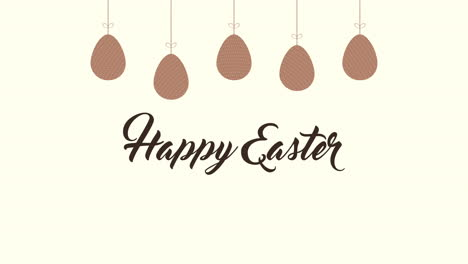 Animated-closeup-Happy-Easter-text-and-eggs-on-brown-background