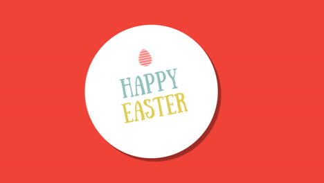 Animated-closeup-Happy-Easter-text-and-egg-on-red-background