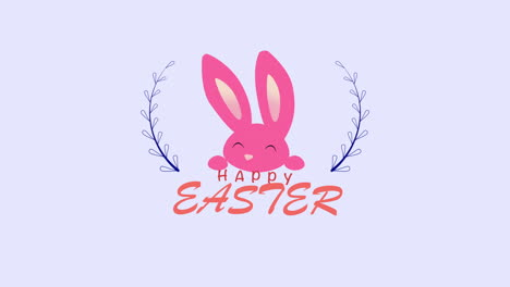 Animated-closeup-Happy-Easter-text-and-rabbits-on-blue-background