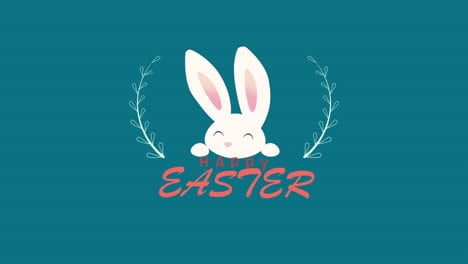 Animated-closeup-Happy-Easter-text-and-rabbit-on-blue-background-2