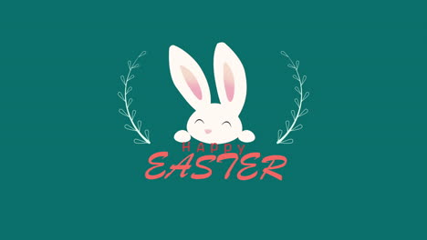 Animated-closeup-Happy-Easter-text-and-rabbit-on-green-background-1