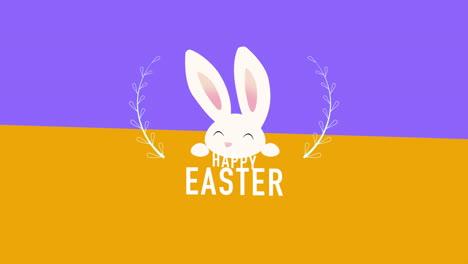 Primer-Plano-Animado-Feliz-Pascua-Texto-Y-Conejo-En-Vértigo-Naranja-Y-Morado