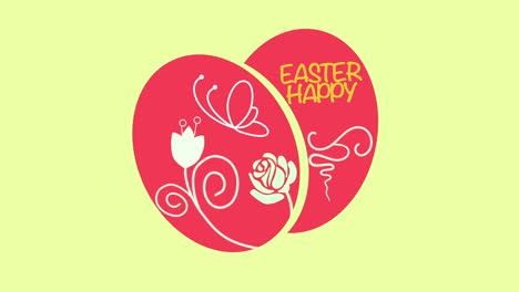 Animated-closeup-Happy-Easter-text-and-eggs-on-yellow-background-2