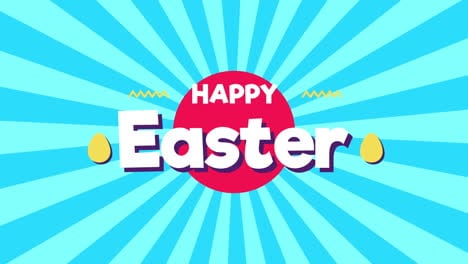 Animated-closeup-Happy-Easter-text-on-blue