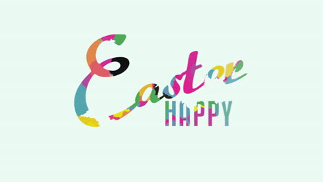 Animated-closeup-Happy-Easter-text-on-white-background