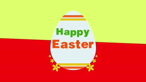 Animated-closeup-Happy-Easter-text-and-egg-on-yellow-and-red