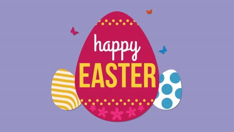 Animated-closeup-Happy-Easter-text-and-eggs-on-purple-background-2