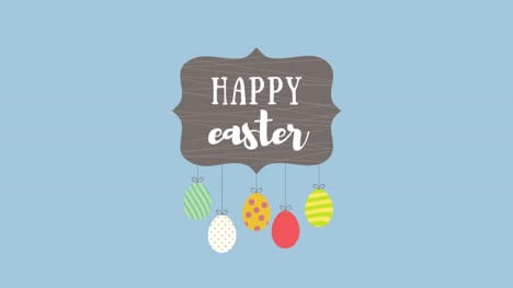 Animated-closeup-Happy-Easter-text-and-eggs-on-blue-background-5
