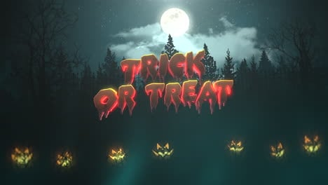 Trick-or-Treat-on-Halloween-background-animation-with-the-forest-and-pumpkins