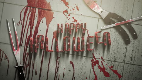 Happy-Halloween-with-dark-blood-and-medical-instruments