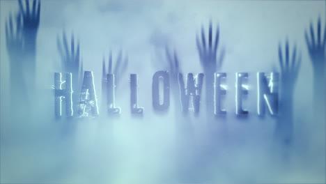 Halloween-Sobre-Fondo-De-Terror-Místico-Con-Las-Manos-Detrás-Del-Vidrio
